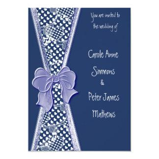 Cartão rústico azul & branco do convite do convite 12.7 x 17.78cm