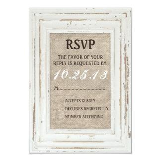 Cartão rústico branco do quadro & da serapilheira convite 8.89 x 12.7cm