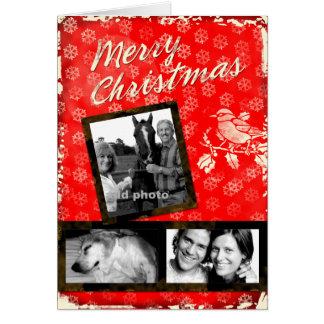 Cartão rústico da foto do Feliz Natal do GC |