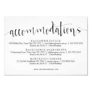 Cartão rústico da informação das acomodações