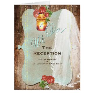 Cartão rústico da recepção do ~ do casamento