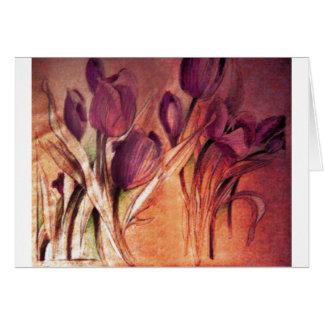 Cartão rústico das tulipas