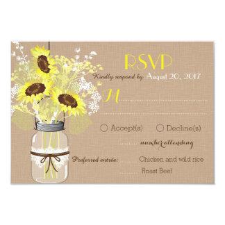Cartão rústico de linho da entrada RSVP do frasco