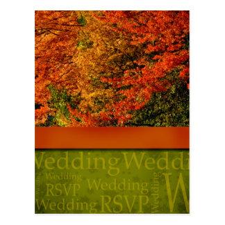 Cartão rústico do casamento outono cartão postal