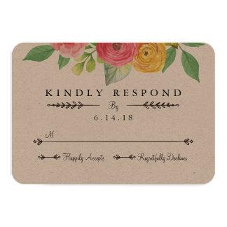 Cartão rústico do chique RSVP