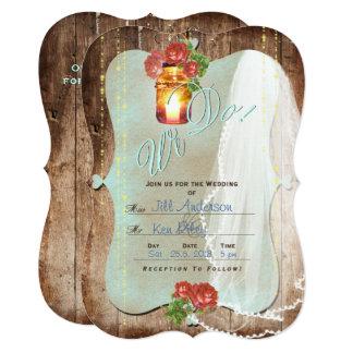 Cartão rústico do convite do ~ do casamento