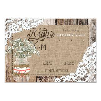Cartão rústico do laço de madeira RSVP da