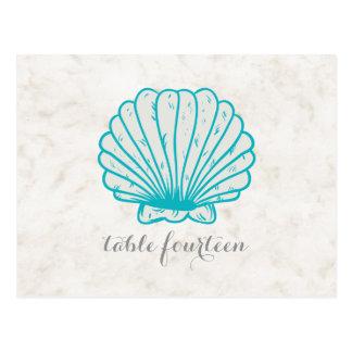 Cartão rústico do número da mesa do Seashell de