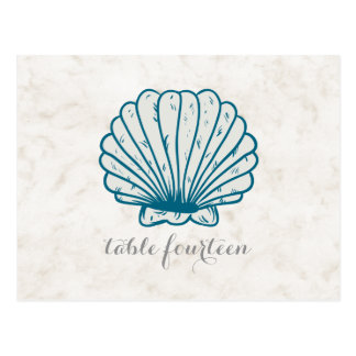 Cartão rústico do número da mesa do Seashell dos
