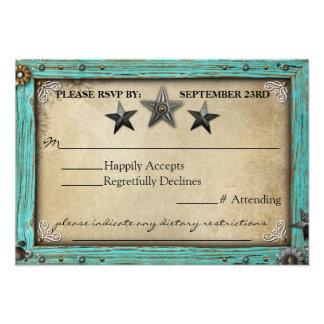 Cartão rústico do papel de pergaminho RSVP do país Convite Personalizado