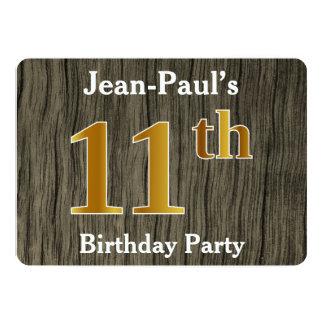 Cartão Rústico, festa de aniversário do ouro do falso