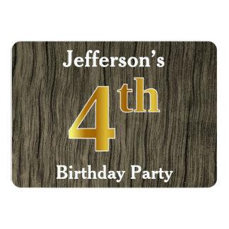 Cartão Rústico, festa de aniversário do ouro do falso 4o;