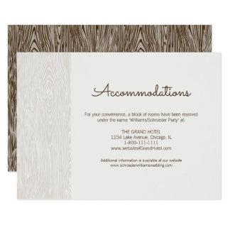 Cartão rústico moderno da acomodação do casamento