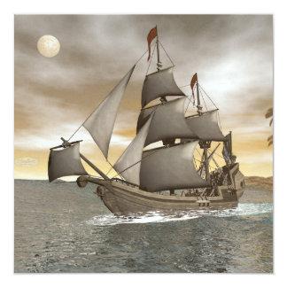 Cartão Sair do navio de pirata - 3D rendem