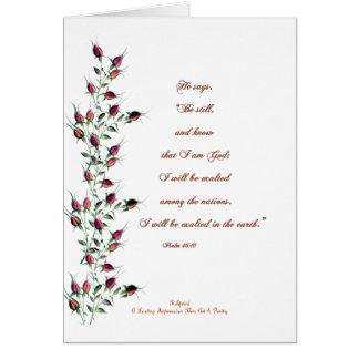 Cartão Salmo 46 com botões da rosa vermelha