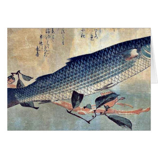Cartão Salmonete listrado Bora por Ando, Hiroshige Ukiyoe