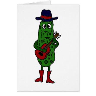 Cartão Salmoura engraçada que joga a guitarra vermelha