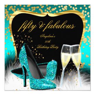 Cartão Salto fabuloso do brilho de Champagne do ouro da