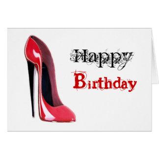 Cartão Salto preto, calçados vermelhos do estilete