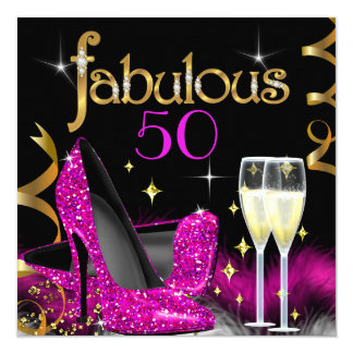 Cartão Saltos altos preto cor-de-rosa do ouro de 50 do