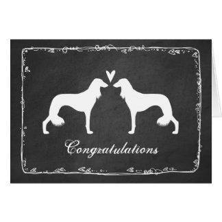 Cartão Saluki mostra em silhueta Congrats Wedding