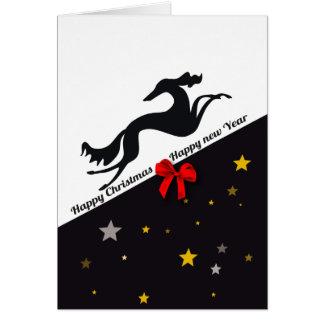 Cartão Saluki YIN Happy Christmas, Happy new year