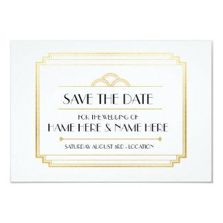 Cartão Salvar a festa de casamento que do art deco da