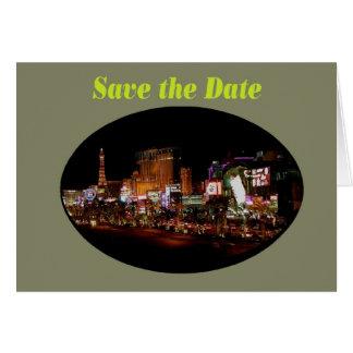 Cartão Salvar a tira de Las Vegas da data