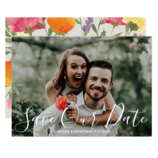 Cartão Salvar as flores pintados à mão da aguarela da