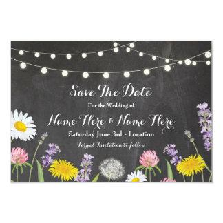 Cartão Salvar as flores que selvagens rústicas da data o