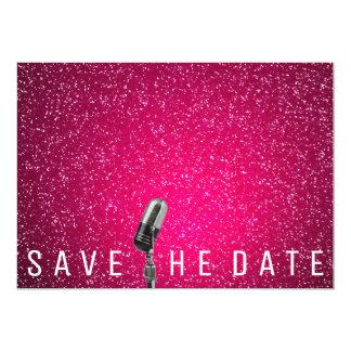 Cartão Salvar o brilho cor-de-rosa brilhante Microfone da