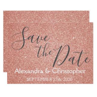 Cartão Salvar o brilho cor-de-rosa do rosa do ouro do