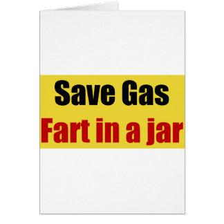 Cartão Salvar o gás Fart em um frasco