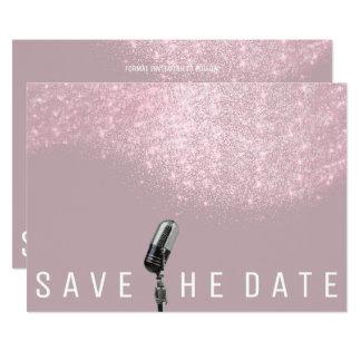 Cartão Salvar o microfone cinzento cor-de-rosa malva do