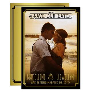 Cartão Salvar o ouro preto retro Deco da data que Wedding