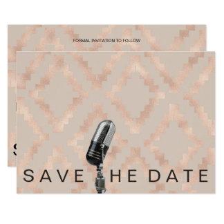 Cartão Salvar o Pastel cor-de-rosa étnico Microfone do