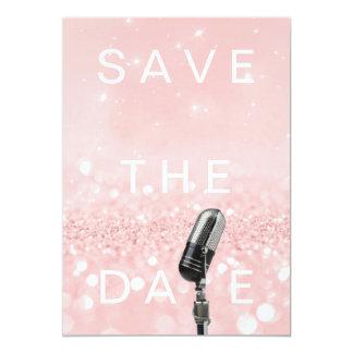 Cartão Salvar o rosa da data coram brilho cor-de-rosa