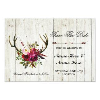 Cartão Salvar os Antlers que rústicos da data o veado