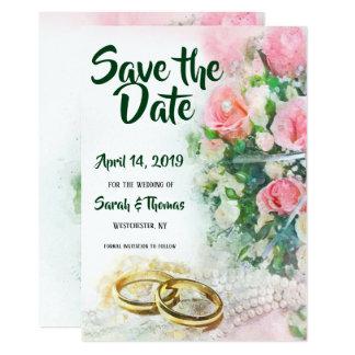 Cartão Salvar os rosas do rosa da data com alianças de