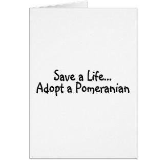 Cartão Salvar uma vida adotam um Pomeranian