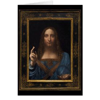 Cartão Salvator Mundi por Leonardo da Vinci cerca de 1500