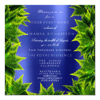 Cartão Samambaia da folha da planta da floresta dos azuis