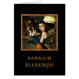 Cartão Samhain abençoado - estrelas da bruxa