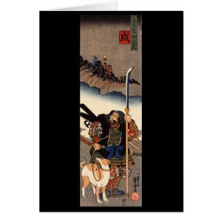 Cartão Samurai com seu cão, cerca de 1800's