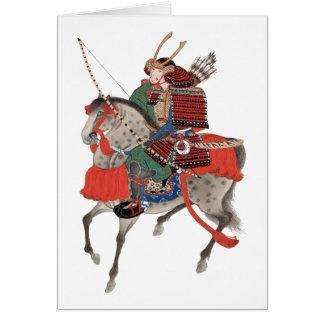 Cartão Samurai do vintage a cavalo, C. 1878