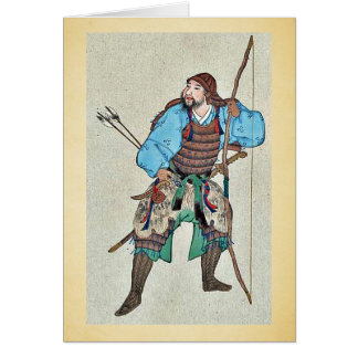 Cartão Samurai que veste a armadura e que guardara um