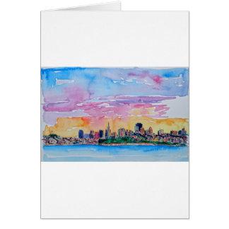 Cartão San Cisco de fra o crepúsculo pôr do sol