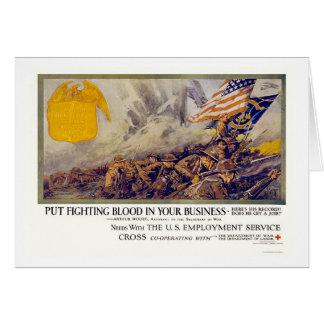 Cartão Sangue de combate Put em seu negócio