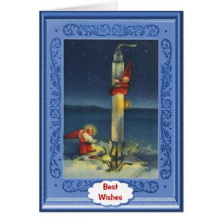 Cartão Santa modernas vão pelo foguete