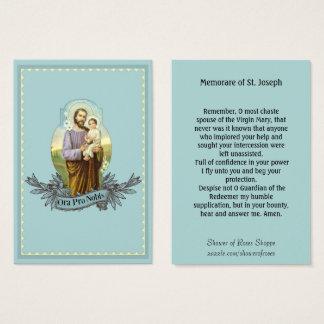 Cartão santamente da oração de St Joseph Memorare